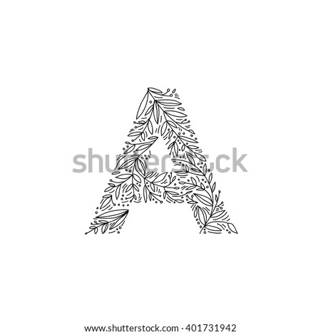 hand drawn letter a floral