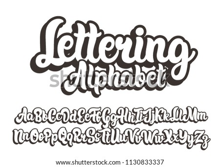 Hand drawn lettering alphabet. Vector font.