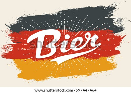 hand drawn lettering bier on...