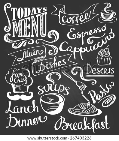 hand-drawn lettering Cake pasta soup coffee Cute logos