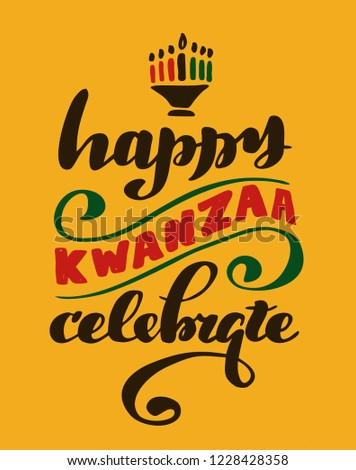 "Hand drawn lettering ""Happy Kwanzaa"". Logo vector design, doodle style. Lettering for web, congratulations, promotional pictures news, invitations, postcards, banners, posters"