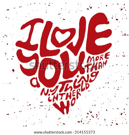 Hand Drawn Lettering Romantic Inspiration Quote Text I Love You