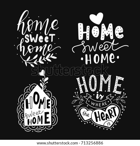 hand drawn lettering set home