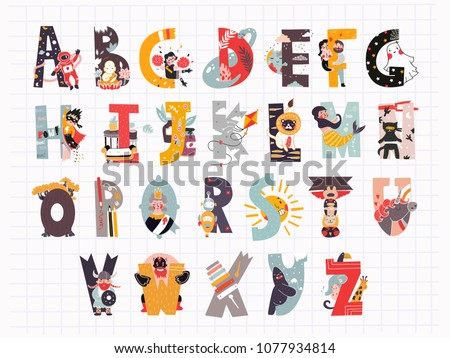 Hand drawn letters of english alphabet. Vector letters with descriptions. All elements are isolated