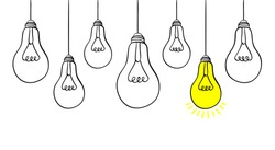 Hand drawn light bulb icons with concept of idea. Doodle style. Vector illustration.