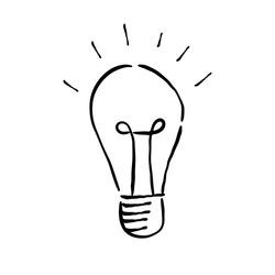 Hand drawn light bulb, idea symbol doodle