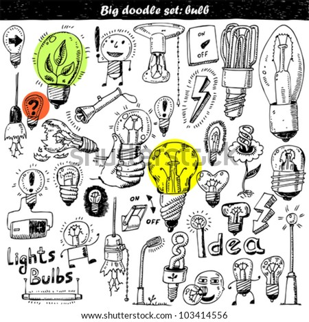 Hand-drawn light bulbs and elements for your design
