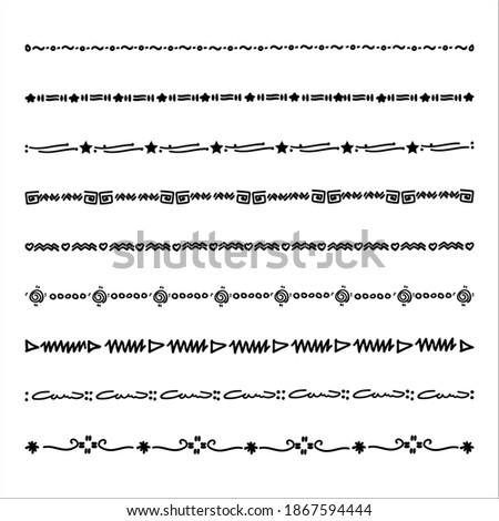 Hand drawn line doodle Marker vector border set