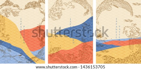 Hand drawn line with Japanese pattern vector. Japanese template with geometric background.