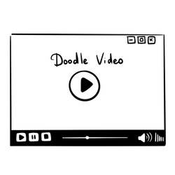 Hand drawn linear button Video player. Ink icon for web, video blog, music, interface, infographic or app. Vector sketch doodle illustration