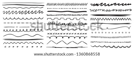 Hand drawn lines. Marker line divider, handmade pencil strokes brush and drawing dividers. Curve frame, decoration borders or floral ornament ink dividing. Vector isolated elements set