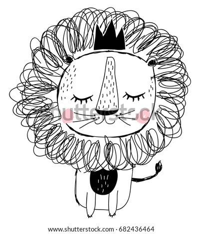 hand drawn lion illustration