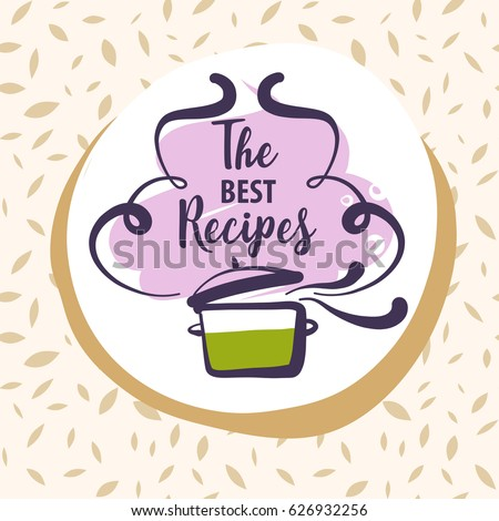 Shutterstock Hand-drawn logo for delicious homemade food  best recipe.