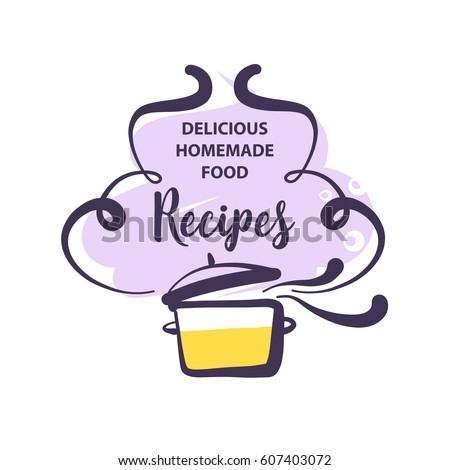 Shutterstock Hand-drawn logo for delicious homemade food recipe. Concept template logotype with abstract cooking soup isolated on white background.