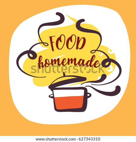Hand-drawn logo for delicious homemade food recipe. Concept template logotype with abstract cooking soup isolated on white background.