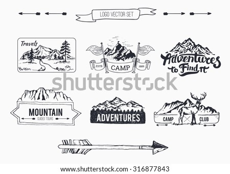 Hand-Drawn logo set collection \ Retro set label of outdoor company, camping, wilderness adventure. Old style elements, mountain, lettering, ribbon banner