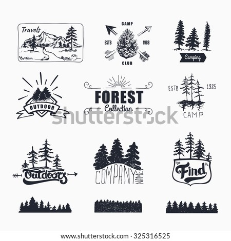 Hand-Drawn logo set. Retro collection of outdoor company, camping, adventure labels. Old style elements, mountain, lettering