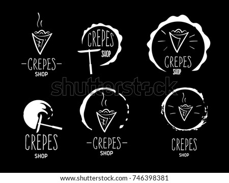 Hand drawn logos of crepes black background. Doodle vector illustration. Foto stock ©