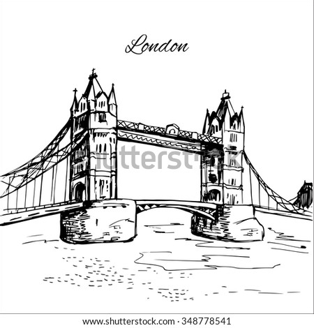 hand drawn london tower bridge