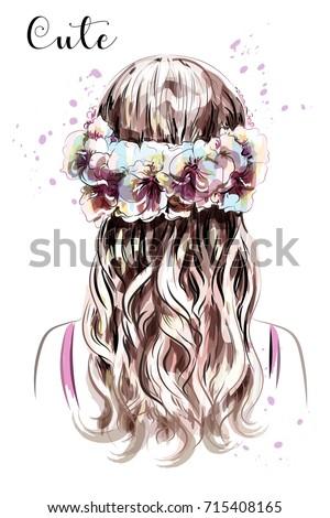 hand drawn long hair girl in