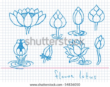 stock vector Hand drawn lotus flowers Vector Visit my portfolio for big