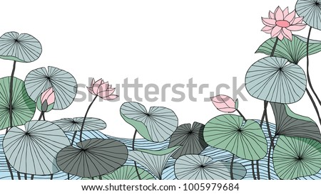 Hand drawn lotus flowers with leaves on water background