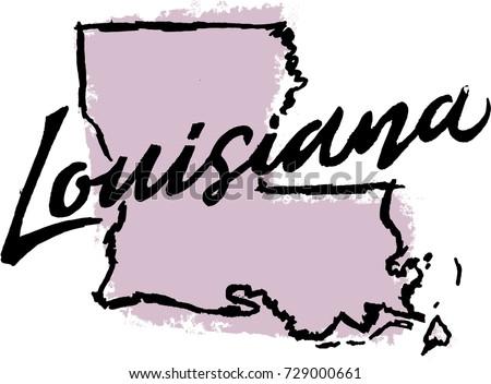 Hand Drawn Louisiana State Design