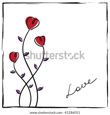 Hand-drawn love card with doodle flowers in a rough frame.