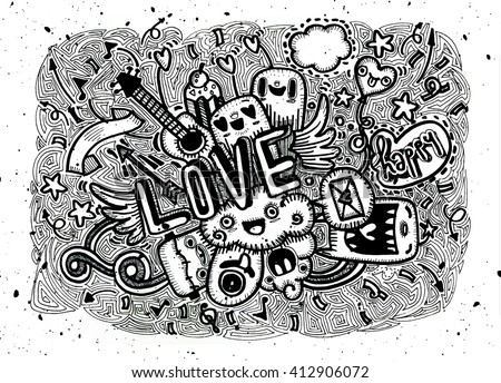 hand drawn love doodles vector