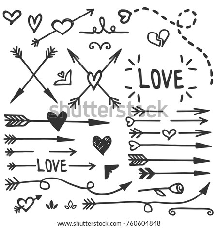 Hand drawn love set, vector