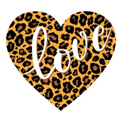 Hand drawn Love text lettering in Leopard print heart shape . Vector illustration. Wallpaper, flyers, invitation, posters, brochure, banners.