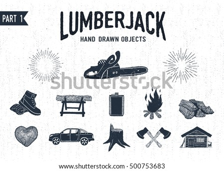 Hand drawn lumberjack textured icons set 1. Vector illustrations.