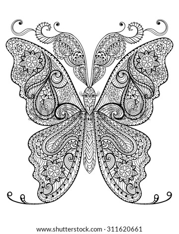 hand drawn magic butterfly for