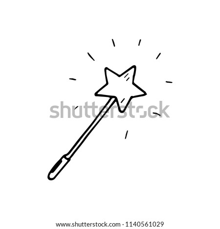 Hand Drawn magic wand doodle. Sketch style icon. Decoration element. Isolated on white background. Flat design. Vector illustration.