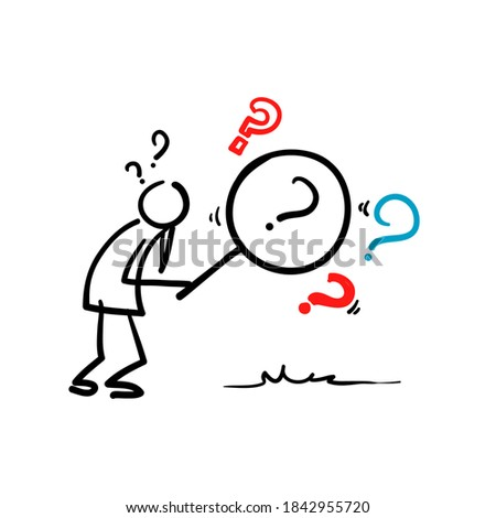 hand drawn magnifying glass and looking through it at interrogation points. Concept of frequently asked questions, query, investigation, search for information in doodle style vector Foto stock ©
