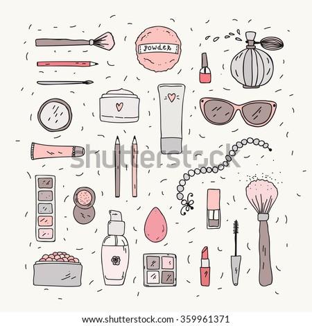 hand drawn makeup items