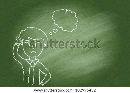 Hand drawn man thinking on chalkboard