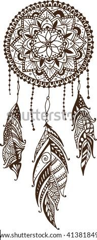hand drawn mandala dreamcatcher