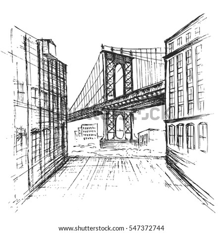 hand drawn manhattan bridge