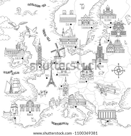 hand drawn map of europe with...