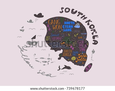 Hand drawn map of South Korea vector illustration, design. Names of South Korea regions in different lettering fonts