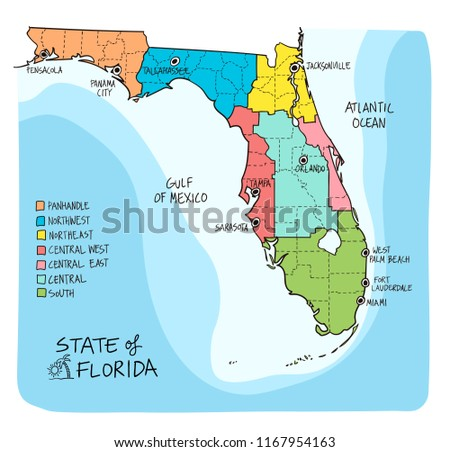Map Of The Gulf Coast Of Florida.Florida Map Hand Drawn Illustration Vector Download Free Vector