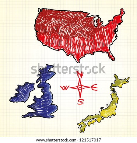 Hand drawn map of the USA, United Kingdom, Japan