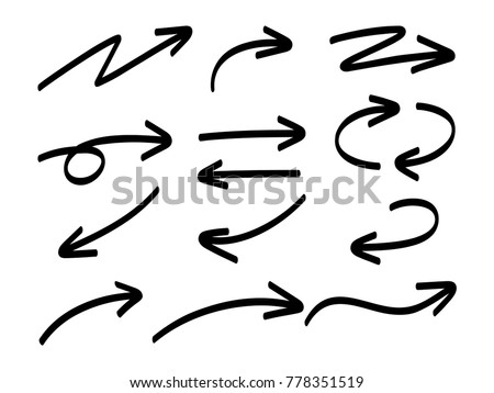 Hand drawn marker arrows isolated on white background. Vector collection