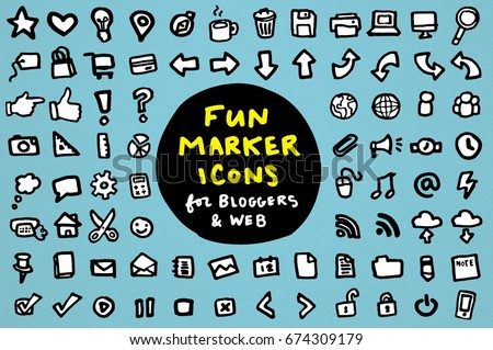 Hand Drawn Marker Style Blogger & Web Design Icons Clip Art Set