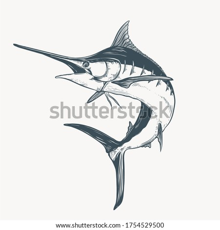 hand drawn marlin tattoo artwork illustration Foto stock ©
