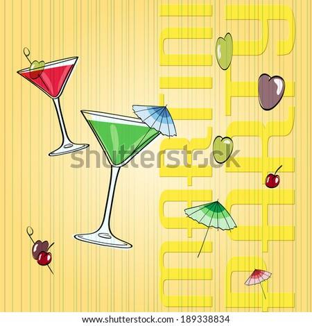 hand drawn martini glass