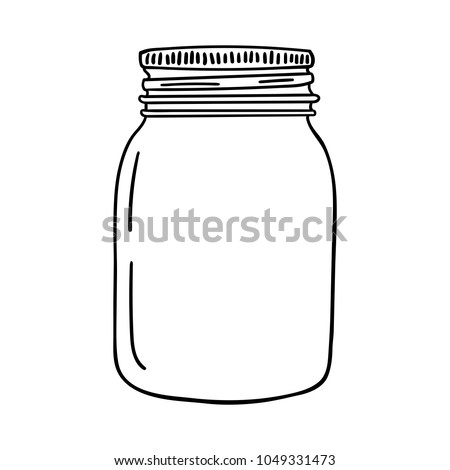 Hand drawn mason jar. Contour sketch. Vector illustration