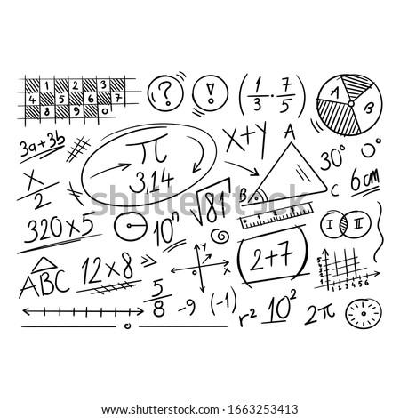 hand drawn math symbols. mathematics background. scribble mathematical concepts