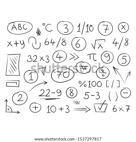 hand drawn mathematical symbols and numbers